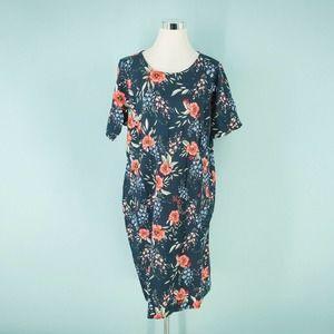 Lands End 18W Floral Print Ponte Knit Sheath Dress